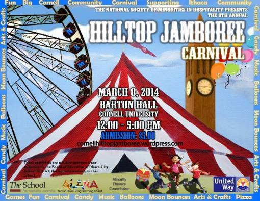 What: NSMH Hilltop Jamboree When: March 8th, 2014 noon-5pm Where: Barton Hall Cornell University Why: To give back to the Local Community and Fun for the Kids!
